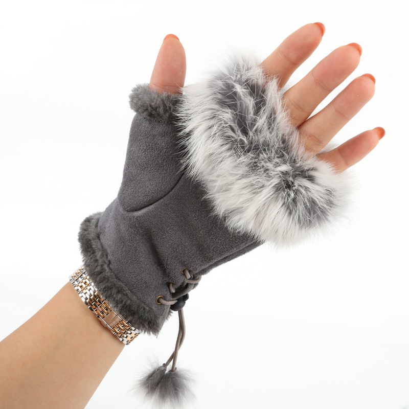 New Rabbit Fur Gloves Leather Lady Fingerless Suede Mittens Women Winter Warmer Wrist Gloves