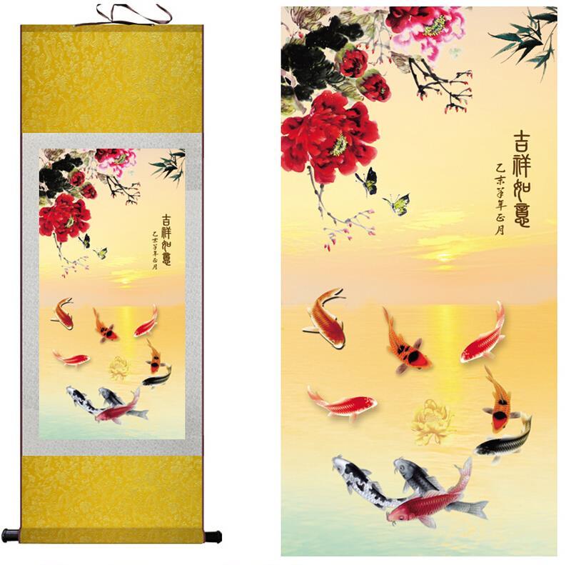 Hedvábné malby Ryby ve vodě tradiční čínské umění malby domácí kanceláře dekorace čínské malby ryb malby