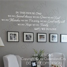 Room Vinyl Wall Decal House Rules In This House WE DO LOVE Quote Lettering Mural Wall Sticker Family Room Home Decoration