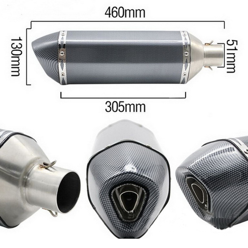 460mm Universal Motorcycle Exhaust Muffler Pipe With Removable DB Killer Silp On 38 51mm Stainless Steel Silencer System in Exhaust Exhaust Systems from Automobiles Motorcycles