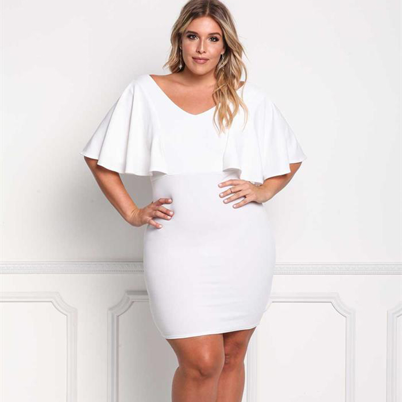 Women Summer White Dress Butterfly Sleeve Bodycon Midi Dress V Neck Knee Length Pencil Dresses Plus Size Cocktail Party Vestidos