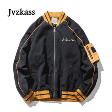 Jvzkass 2018 autumn new neutral womens washed bomber jacket female loose students Japanese solid color long-sleeved Z227