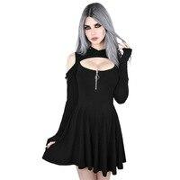Sexy Hollow Out Gothic Hoodie Mini Dress 2019 Women Spring Punk Black Hooded Streetwear Zipper Rivet Casual Dresses