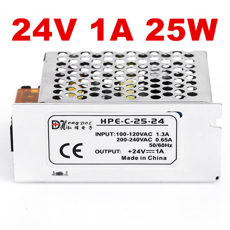 5 PCS 24V 1A 25W Switching Power Supply Driver for LED Strip AC 100-240V Input to DC 24V free shipping free shipping single led power supply driver ac 100 240v to dc 24v 50w voltage converter