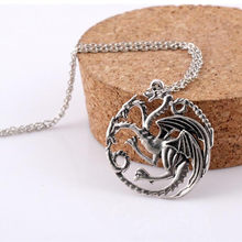 Hot Sell Game of Thrones Fire Dragon Pendant Necklace Necklace Fashion jewelry wholesale 011(China)
