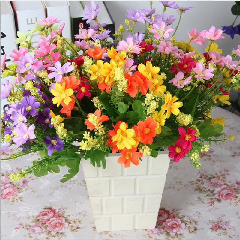 1 Bouquet Vintage Campo Margarita De Seda Artificial Flor de La Boda Decoración