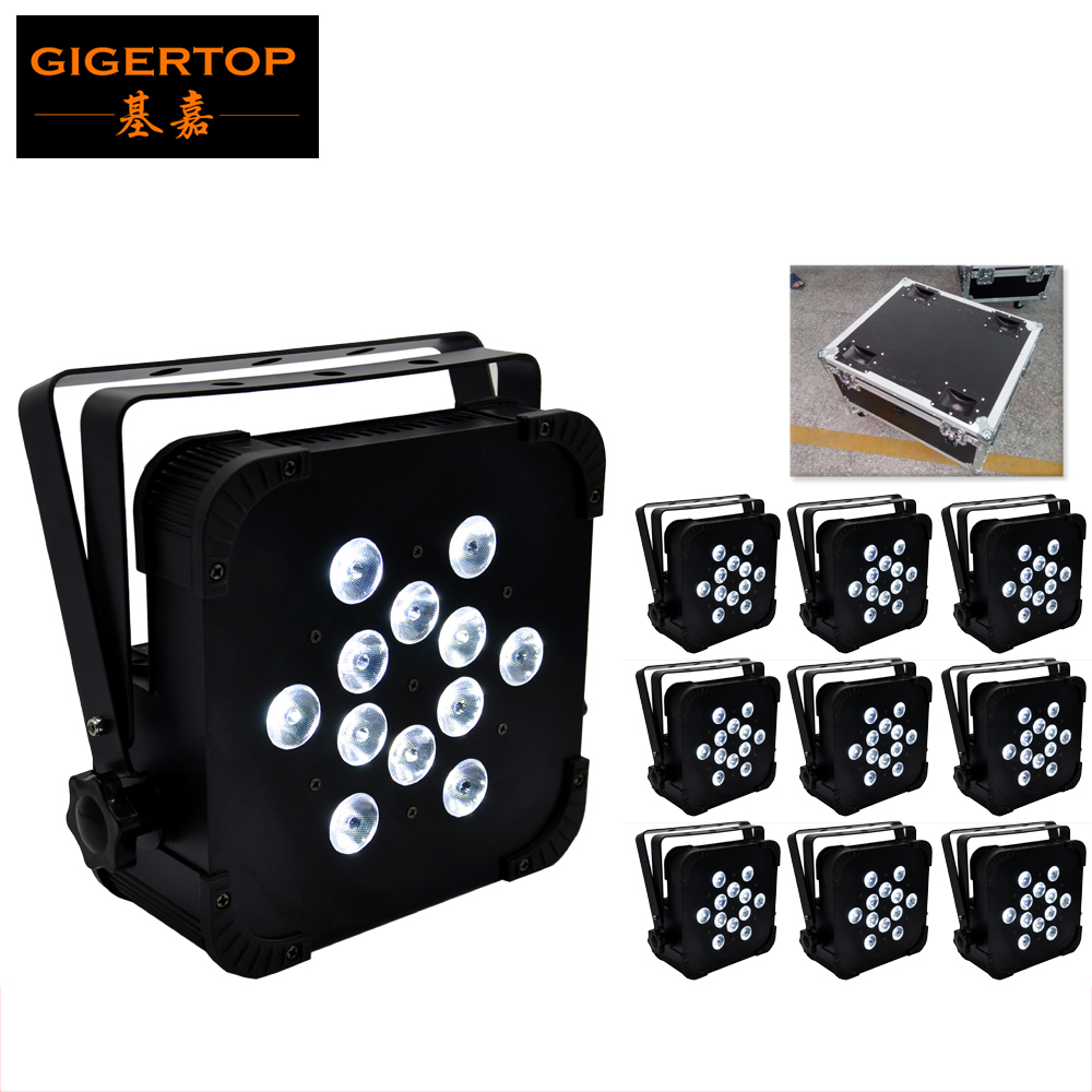 10in1 Flightcase Pack 12x12 Watt Quad LEDs (4-In-1 RGBW- Red, Green, Blue & White) Sit Flat LED Par Light Power & Dmx Ins/Outs