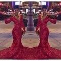 FG29 Custom Made Red Bling Lantejoulas Manga Longa Sereia Baile vestidos 2016 Sexy Decote Em V Evening Vestido de Festa Vestidos de formatura