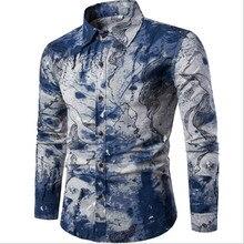 Fashion Shirt Male Flax Dress Shirts Slim Fit Turn-Down Men Long Sleeve Mens Hawaiian Shirt Big Sizes M-5XL