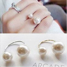 Hot Fashion women's Ring Street Shoot Accessories Imitation Pearl Size Adjustable Ring Opening Women Jewelry New Arrivals(China)