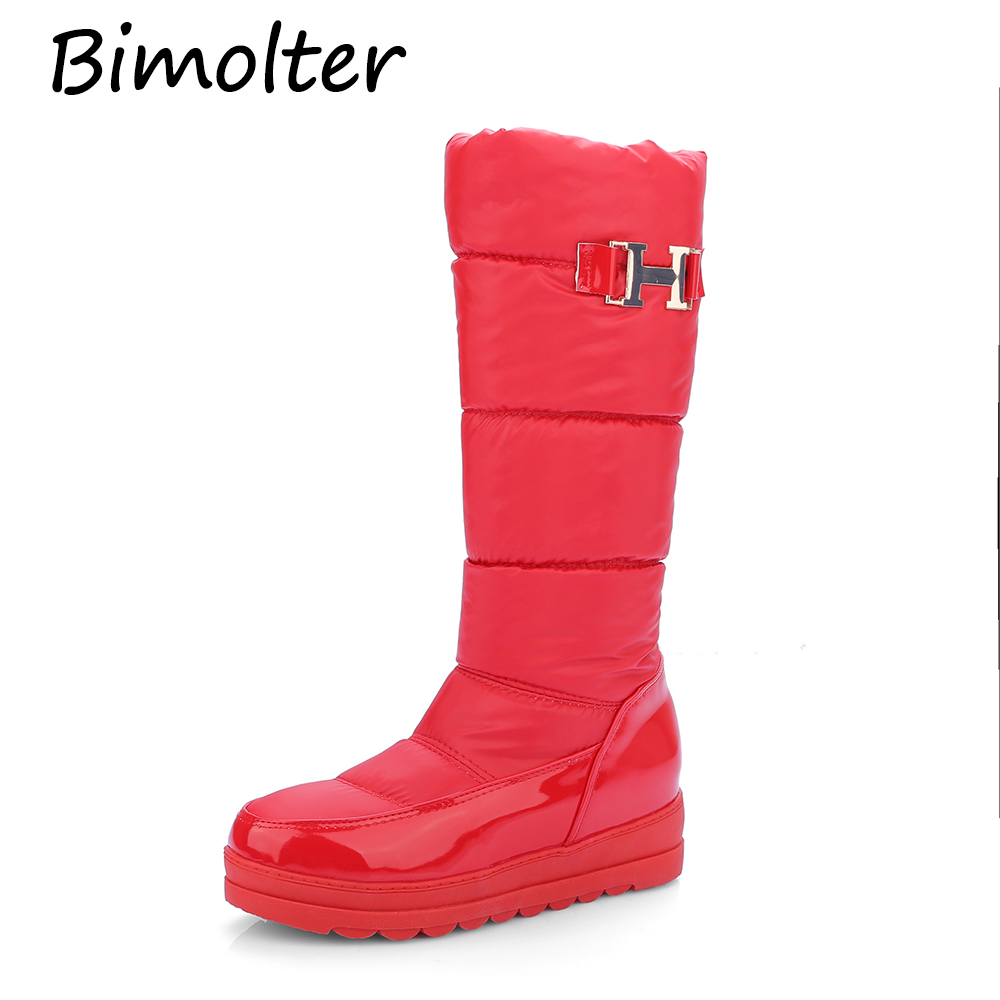 Bimolter Women Winter Boots Warm Cotton Down Patent Leather Shoes Snow Fur Platform Mid Calf Size34-43 PAEA033