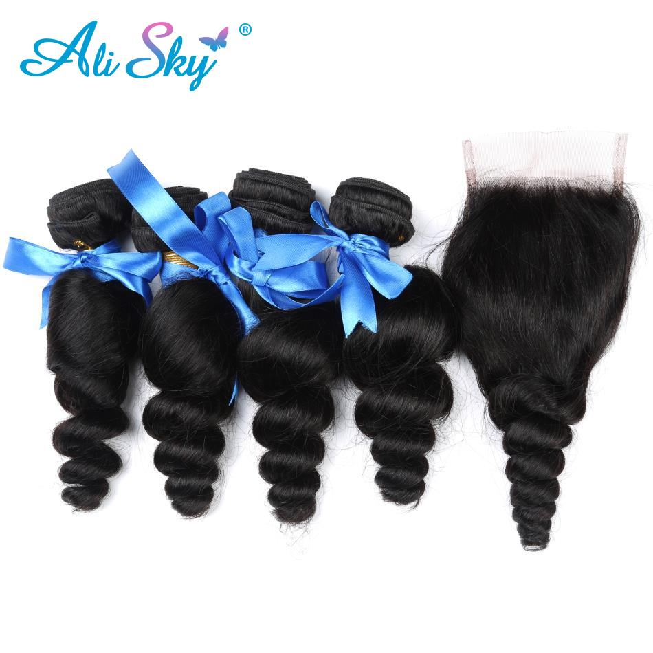 Ali Sky Hair Brazilian Loose Wave 4 Bundles Human Hair With Lace Closure 4*4 Natural black Color Free Shipping non-Remy Hair