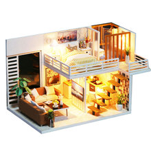 DIY 모형 인형 집 가구를 가진 소형 인형 집은 아이들을위한 3D 나무로되는 집 장난감을 선물한다 Handmade Crafts