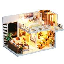 Diy modelo casa de bonecas em miniatura com móveis led 3d casa de madeira brinquedos para crianças presente artesanato artesanal