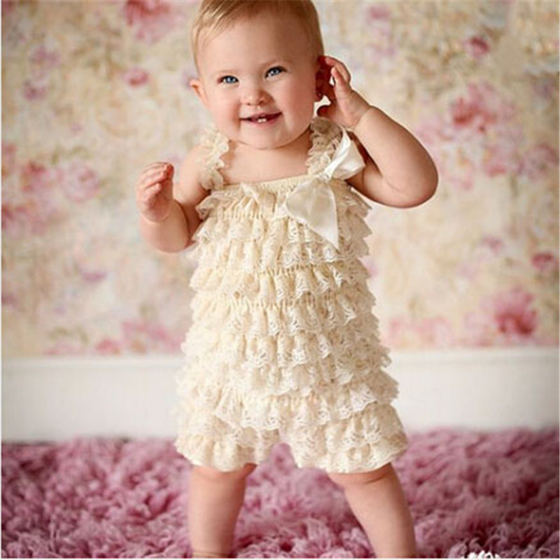 Newborn Baby Girl Clothes Infant Baby Lace Romper Vintage