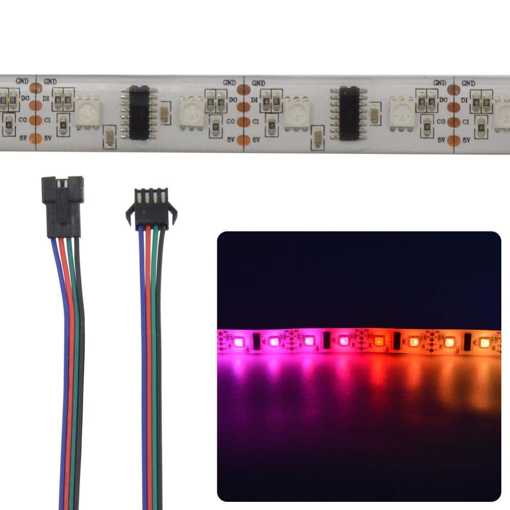 Mokungit 5X 1M LPD8806 48LEDs/m 5050 RGB SMD LED Strip Light Tape Pixel IP20 Non Waterproof IP65 IP67 White PCB DC5V