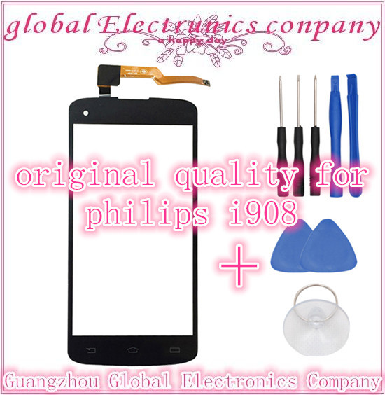 Original Touch Screen Digitizer Front Glass Replacement For Philips i908 Cell Phone Touch Panel Sensor  free shipping