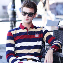 2017 New Autumn Spring Men's Long Sleeves Polo Striped Shirt 100% Cotton High Quality Male Business Casual Polo Slim Fit Soft