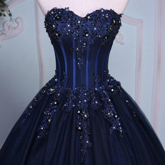 Online Shop Navy Blue Ball Gown Princess Quinceanera Dresses Girls ...
