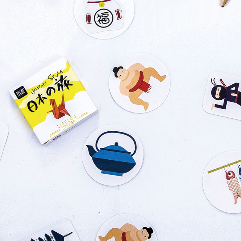 45 Pcs/box Japan Travel Paper Sticker Decoration DIY Diary Scrapbooking Sealing Sticker Children's Favorite Stationery
