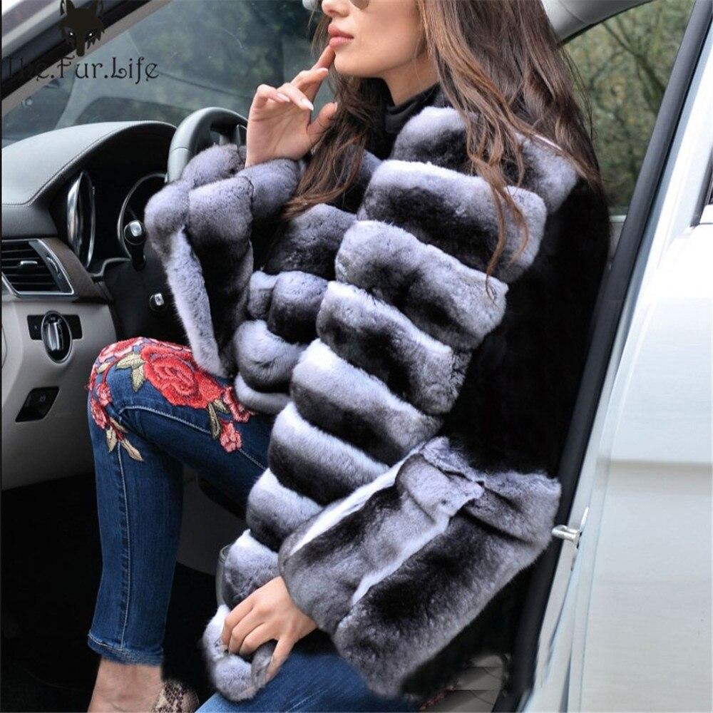 Vestes Col Chaud Complet Style Pour Nouveau Réel Luxe De Noir Femmes Épaissir Chinchilla Grand Big Lapin Rex Collar Manteau Fourrure Manteaux Couleur Pelt axHwq5w