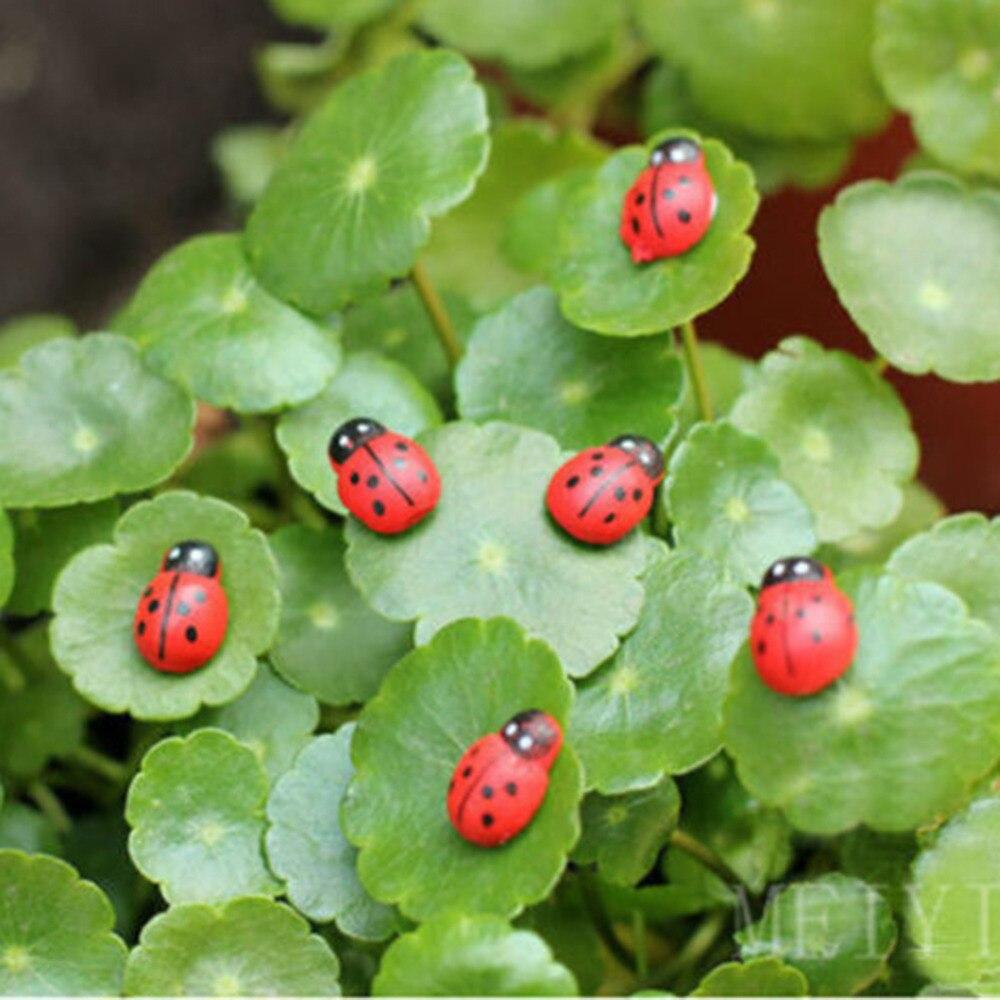 10 PCS/lot Miniature Ladybug Garden Ornament Wooden Potted ...