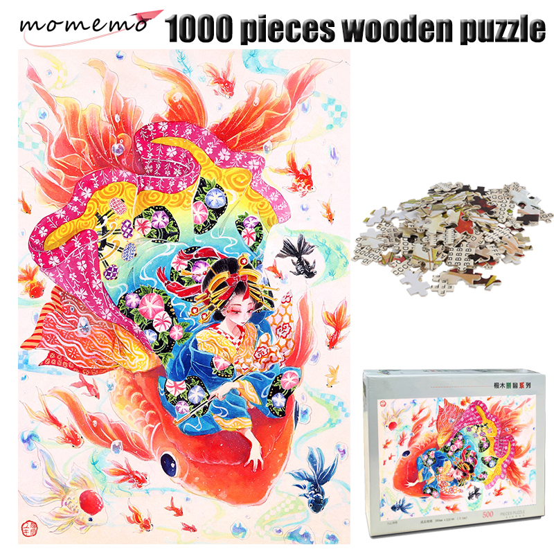 MOMEMO Goldfish and Girl Jigsaw Puzzle Chinese Style 1000 Pieces Adult Wooden Puzzle Color Hand Painted 1000 Pieces Puzzle Toy