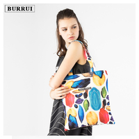 BURRUI Fashion Women Canvas Handbags Hemp Leaves Flamingos Zebra Printing Shoulder Bag Casual Shopping Bag Girl