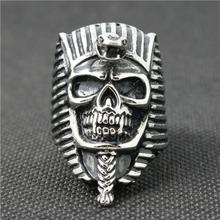 316L Stainless Steel Silver Cool Egyptian Pharaoh Silver Newest Skull Ring