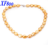 Gold Max Natural freshwater baroque pearl jewelry necklace , 10 11MM pearl choker necklace fine jewlery for party