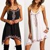 1PC New Hot Sale Women Girls Black Spaghetti Strap Sleeveless Print Loose Mini Dresses
