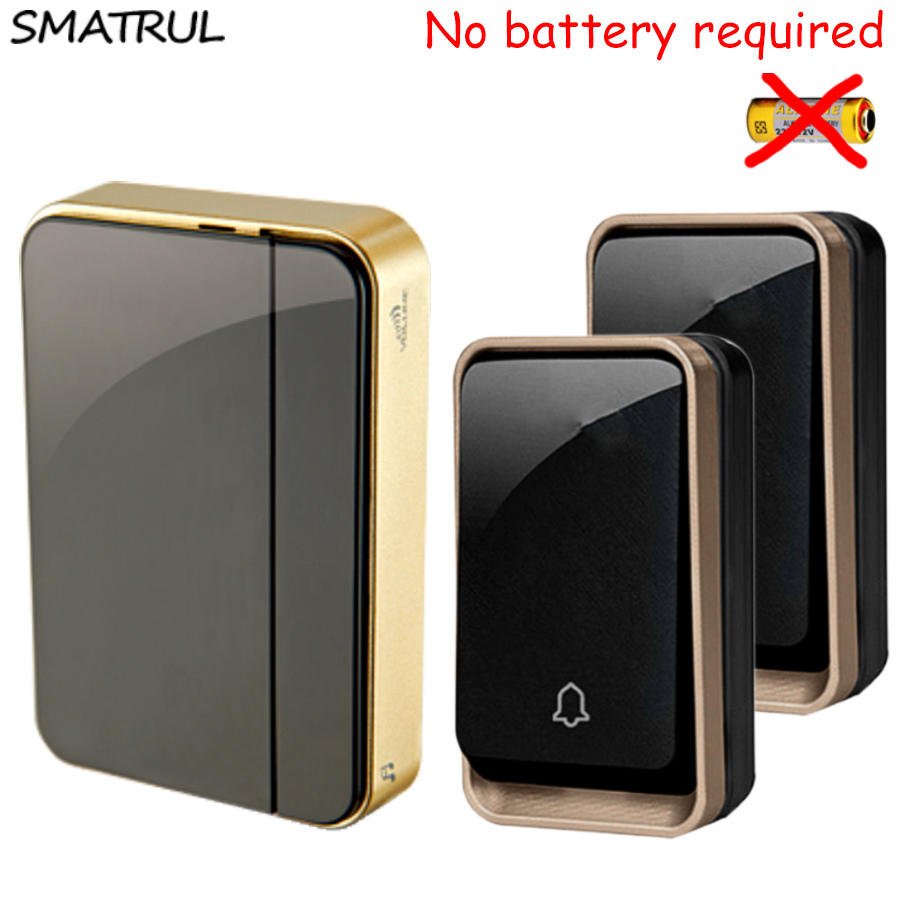 SMATRUL self powered Cordless Wireless DoorBell Waterproof no battery EU plug smart Door Bell 110V-220V 2 Transmitter 1 Receiver door bell with 36 chimes single receiver waterproof plug in type wireless doorbell cordless smart door bells doorbells
