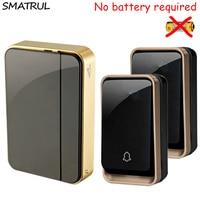 SMATRUL Self Powered Cordless Wireless DoorBell Waterproof No Battery EU Plug Smart Door Bell 110V 220V