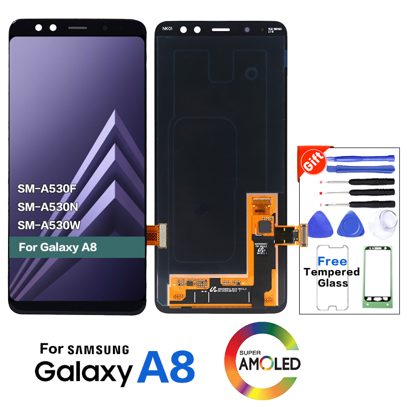 Original <font><b>display</b></font> LCD Screen for SAMSUNG Galaxy <font><b>A8</b></font> 2018 LCD A530 <font><b>A8</b></font> 2018 LCD A530F LCD <font><b>Display</b></font> Touch Digitizer Replacement image