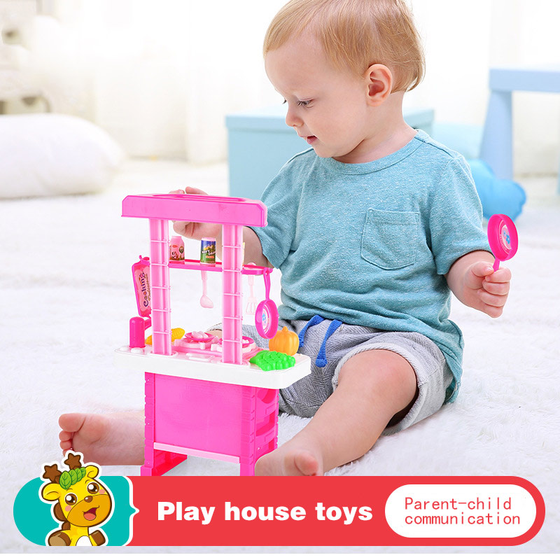 Baby Toys Miniature Kitchen Plastic Pretend Play Food With Music Light Kids Cooking Toy Set YH-17