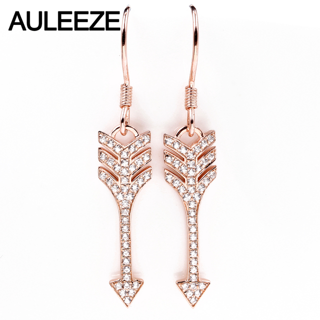 Auleeze Trend 0 26cttw Real Natural Diamond Drop Earrings Solid 18k Rose Gold Arrow For