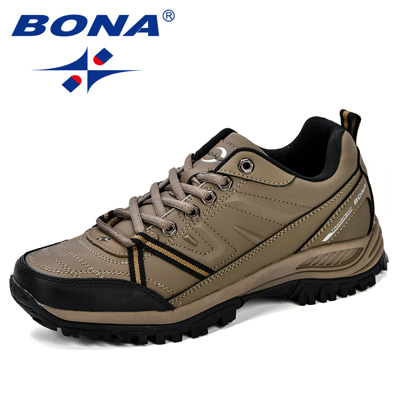 BONA 2018 New Mens Hiking Boots Krasovki Tactical Shoes Breathable Outdoor Comfortable Non Slip Hiking Shoes
