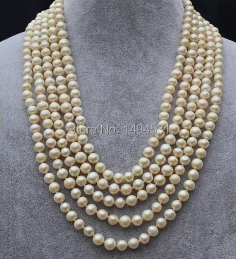 Wholesale Pearl Jewelry ,White Color 100 Inches Long AA 7-8MM Natural Freshwater Pearl Necklace Handmade - Free Shipping