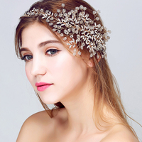 Luxury Handmade Wedding Hair Accessories Romantic Gold Tiaras Crystal Bridal Headbands Retro Prom Headpiece Soft Crown