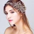 Tiara de la boda accesorios para el cabello joyería del pelo de lujo hecho a mano cristalino nupcial diademas de fiesta retro celada pelo de las mujeres de la hoja de oro