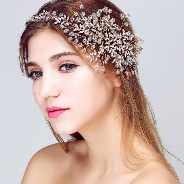 Tiara wedding hair accessories luxury handmade jewelry hair crystal bridal  headbands retro prom headpiece gold leaf women hair ab286ae58a2