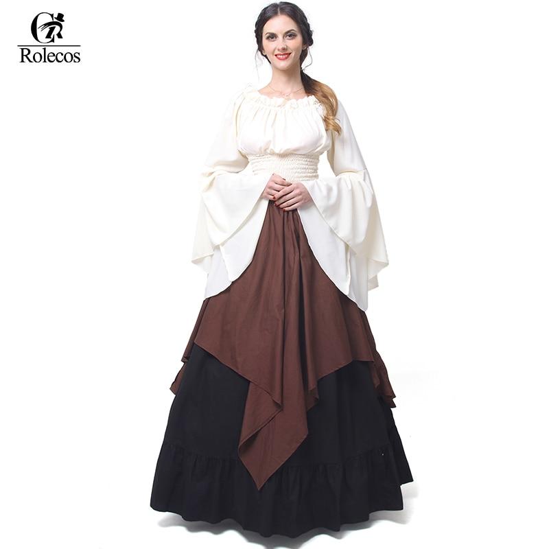 Rolecos Gotické Lolita šifonové šaty Ženy renesanční středověké šaty Halloween Party maškarní kostýmy