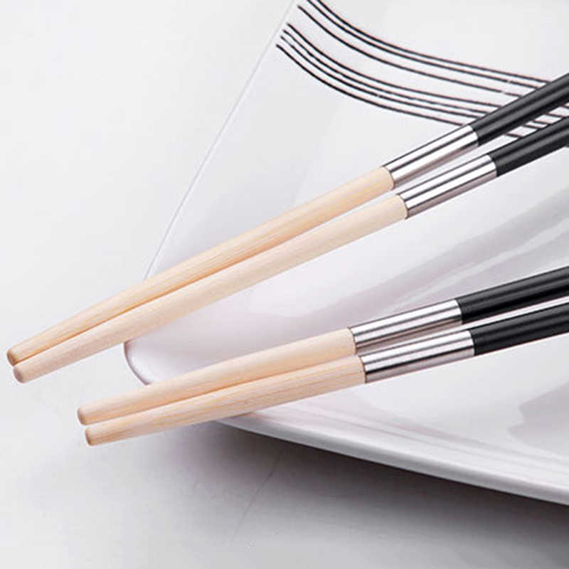 Black Gold silver Chinese Chopsticks set Household Dinnerware Resuable China Chop Sticks Square Korean Stitching Chopsticks