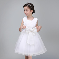 Retail 1pcs Brand New Design Girls Sleeveless Beautiful Flower Lace Dress Girls Cute Party Wedding Performance