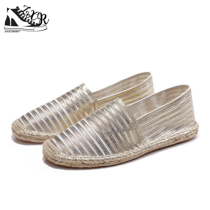Summer Diaphanous Stripe Canvas Shoes Woman Breathable Womens Loafers Handmade Lovers Footwear Slip On Walking Shoes For Adult women flat shoes for 2018 spring summer fashion air mesh womens slip on loafers breathable comfortable walking shoes size 35 41