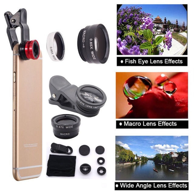 Universal 3in1 Clip Fish Eye Smartphone Camera Lens Wide Angle Macro Mobile Phone Lens For IPhone 7 6 5 4 Smart Phones Fisheye