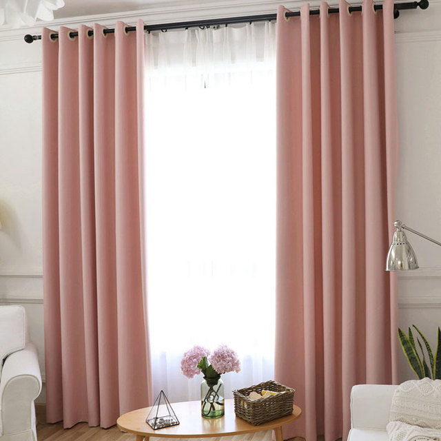 LuoShanNa Modern Cotton Linen Blackout Curtains Pink Solid Rough Texture Window Curtain Thicken Bedroom For