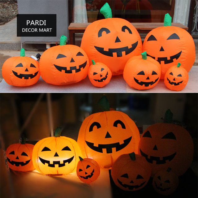 Pompoen Halloween.Us 57 8 7 Pompoen Set Opblaasbare Pompoen Led Knippert Pompoen Halloween Decoratie Partij Decoratie 1 Set Partij In 7 Pompoen Set Opblaasbare