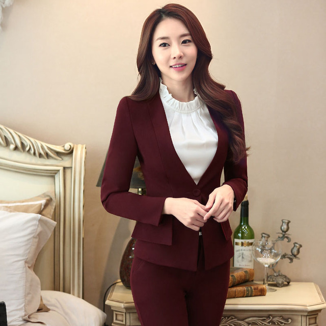 0be074750ee9a Novelty Wine Formal Professional Blazers Work Suits With Jackets And Pants  Slim Fashion Business Women Pantsuits