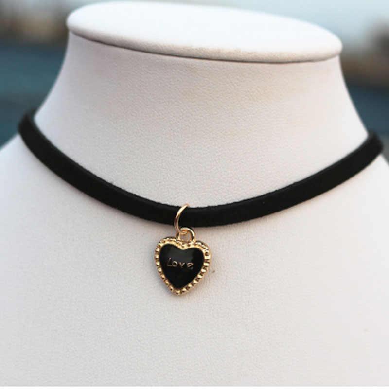 Harajuku סגנון שחור/ורוד אהבה-לב קולר שרשרת לנשים תכשיטים נקבה קצרה עצם הבריח תליון שרשראות Collares